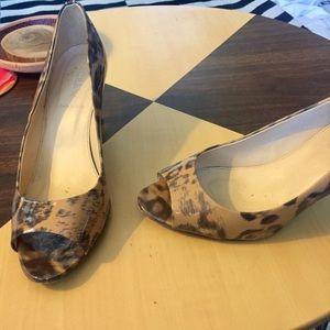 J crew leopard patent leather heels  Sz 8.5